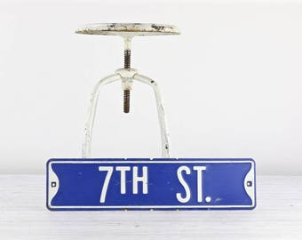 Vintage Street Sign Vintage Road Sign Blue And White Street Sign Old Street Sign Metal Street Sign 7TH Street Sign Industrial Decor