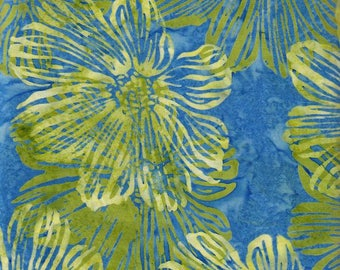 Hoffman Fabrics Bali Batiks 2982 421 Ceylon Hibisbus On Blue By The Yard