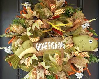 GONE FISHING deco mesh wreath