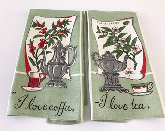 Linen Towel Set I Love Coffee and Tea Towels Vintage Textiles Mother's Day Gift