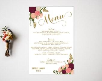 Wedding Menu  Reception  Vintage Wedding Decor  Wedding Dinner Menu  Buffet Menu  Menu Card  Reception Menu
