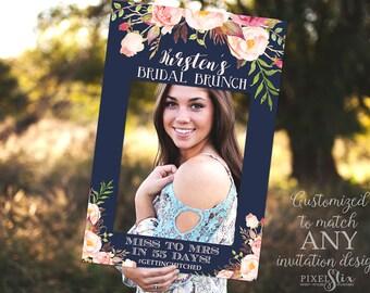 Navy Bridal Shower Photo Prop Frame, Wedding Photo Prop, Baby Shower Photo Prop DIGITAL FILE - Sweet Sixteen Photo Prop, Bachelorette Party
