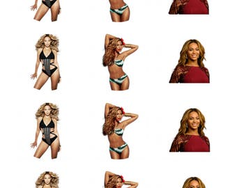 12 x Beyonce Edible Stand Up Wafer Cake Cupcake Toppers
