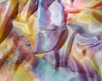 Hand painted silk scarf Solar Cats. Batik silk scarf with sweet Cats. Soft and gentle colors: yellow-pink, peach and lilac.