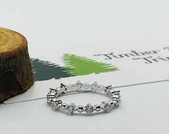 Thin Eternity CZ Sterling Silver Eternity Ring