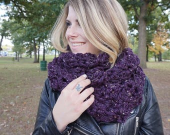 Chunky Wool Blend Oversized Infinity Scarf, Edinburgh Highlander Chunky Wide Infinity Scarf , Winter Accessories