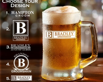 Personalized Beer Mug Groomsman Mug Engraved Mug Sandblasted Glass Beer Mug