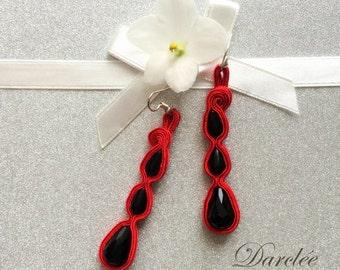 Orecchini Soutache rosso e nero