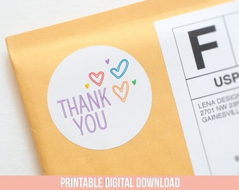 Thank You Stickers - Printable Stickers - Thank You Label - Business Stickers - Rainbow Thank You - Pretty Packaging - Packaging Sticker