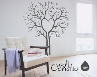 "Heart Twin Tree Wall Decal - Tree Wall Sticker - Heart Tree Decal - Large: approx 69"" x 60"" - W031"