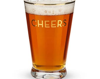 Gold Rimmed CHEERS Pint Glasses