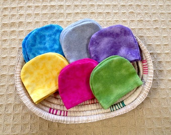 Child Size Set of Flannel Polishing Mitts or Dusting Mitts, Montessori Inspired for the Classroom or the Home - Assorted Colors