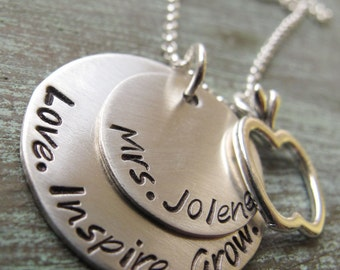 Personalized Teacher Gift, Love, Inspire, Grow, Teach, Apple Charm, Teacher Necklace