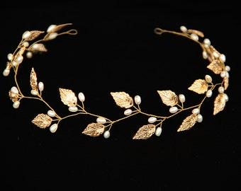 Gold Leaf headband Leaf tiara Leaf headpiece Leaf crown Bridal headpiece Wedding headband Grecian headpiece Woodland wedding  Rustic wedding