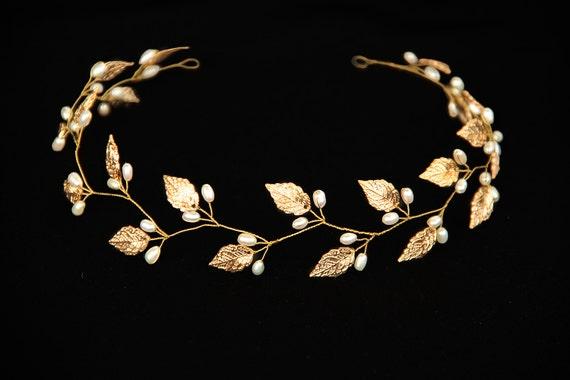 Gold Leaf Headband Leaf Tiara Leaf Headpiece Leaf Crown Bridal