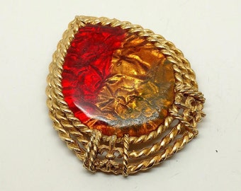 Vintage Red/Amber Resin Brooch