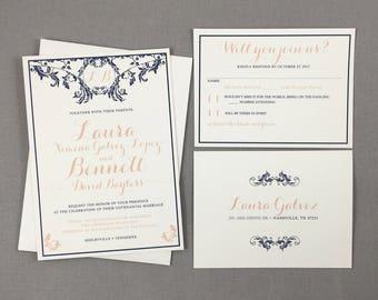 Art Nouveau Navy and Blush Script with Monogram 5x7 Wedding Invitation with RSVP Postcard