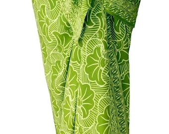 Beach Sarong Pareo Chartreuse Green Gingko Sarong Skirt Women's or Men's Beach Cover Up - Batik Sarong Beach Wrap Skirt - Womens Swimwear