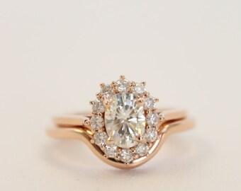 Rose Gold Moissanite Ring, Oval Moissanite, Wedding Set, Diamond Halo Ring, Halo Engagement, Moissanite Engagement, Rose Gold