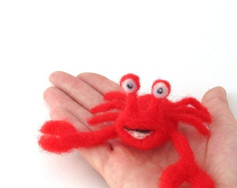 Neede felted Crab - wool felt animal - red crab - beach animal
