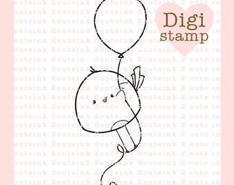 Balloon Birdie Digital Stamp for Card Making