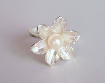 Sterling Silver Flower Ring with Pearl - floral jewelry, gift for her, elven, organic, forged, white, handmade, statement, bridesmaid gift