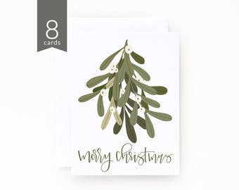 Christmas Card Set of 8 | Illustrated Mistletoe Holiday Card Set with Hand Lettered Calligraphy : Mistletoe Christmas Cards