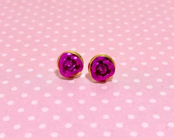 Tiny Little Purply Pink Fuchsia Metal Rose Flower Dainty Stud Earrings in Setting Like a Potted Plant
