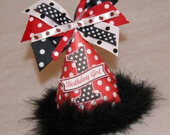 Red and Black Polka Dot Ladybug Party Hat - ladybug party, black red party, lady bug birthday party