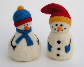 NEEDLE FELTING TUTORIAL  / Snazzy Snowmen Downloadable Pictorial and Instructions / Learn to needle felt snowman / make your own snowmen