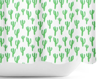 Watercolor Cactus Shower Curtain - green and white cactus print shower curtain, fabric shower curtain, succulent shower curtain