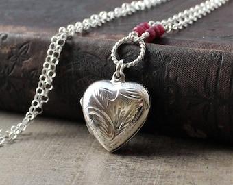 Ruby Locket, July Birthstone Locket, Photo Locket Necklace, Sterling Silver Locket, Silver Heart Locket Pendant, Push Present Picture Locket