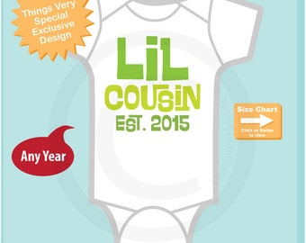 Little Cousin Onesie or Tee Shirt Established year (matches set of big cousins) (10262012a)