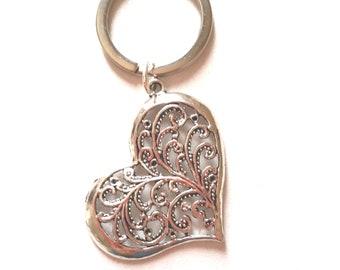Silver heart key chain
