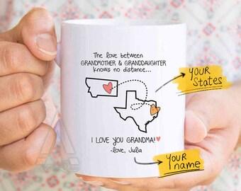 Mothers day for grandma personalized, grandma state mug, grandma distance personalized, birthday gift for grandma, long distance gift MU632