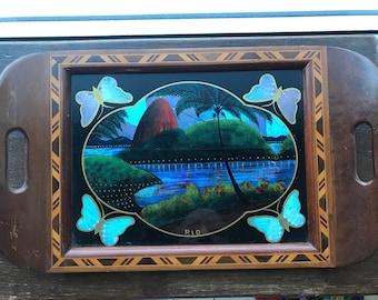 Visually stunning South American - Rio De Janeiro  Butterfly Wing tray, Mountain Scene