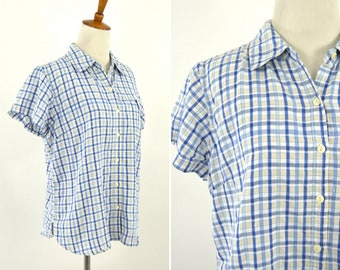 Vintage 1990's Blue and White Casual Short Sleeve Button up Plaid Blouse - Summer Spring Mori Girl Top - Size Large