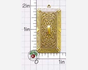 Victorian Rectangle Pendant Charm, Oblong Pendant, Vintage Rectangular Finding Made in USA Antiqued Brass, Brass Ox, 1 Pc, 1260bo