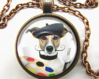 SALVADOR DOGGY -- Painter Jack Russell terrrier necklace,  An artist at work,  Gift for artists & art lovers