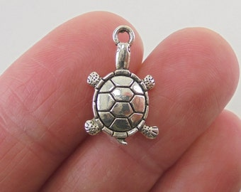 8 Turtle charms, 19x12mm, antique silver finish