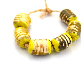 6 Yellow Tube Beads, Rustic Beads, Handmade Ceramic Beads, Textured Beads, Artisan Beads, White Clay Beads, Jewelry Supplies