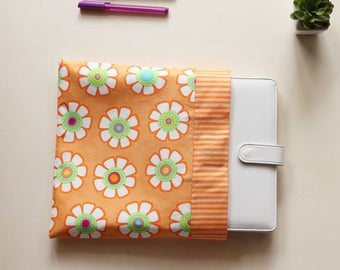 A5 notebook pouch with orange fabric, planner cover for A5 organizer with magnetic button