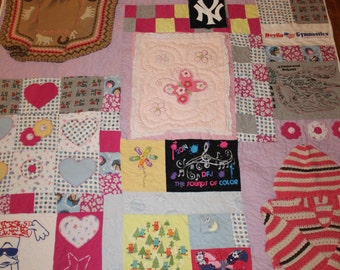 Memory quilt, t shirt quilt, baby clothes quilt, quilt, 1st year quilt, first year quilt, recycled clothes, memory blanket, tshirt quilt