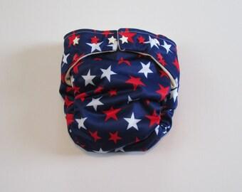 TADA AIO Organic Cloth Diaper in Patriotic Red and White Stars print