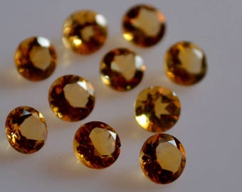 8 mm natural citrine round faceted  loose gemstone AAA quality