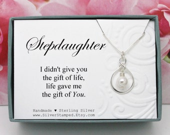 Stepdaughter necklace birthday or wedding gift from stepmom or stepdad Sterling silver infinity necklace with Swarovski crystal pearl