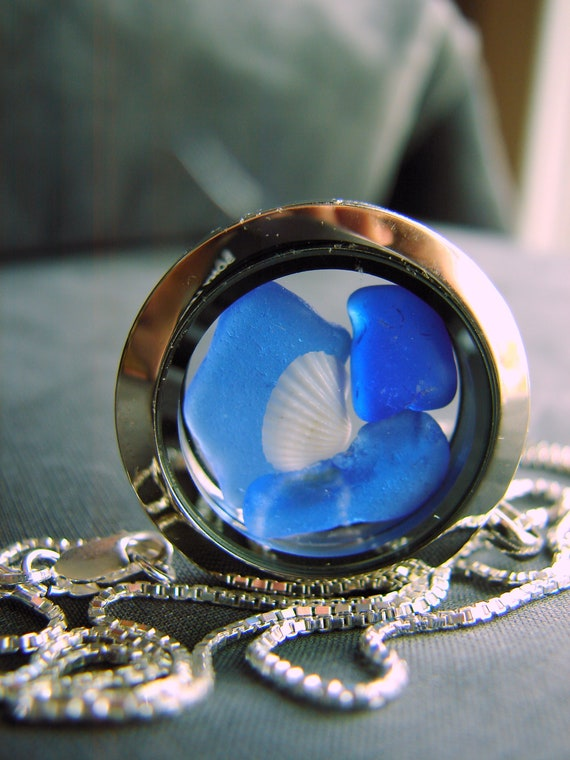 Porthole sea glass locket in blues