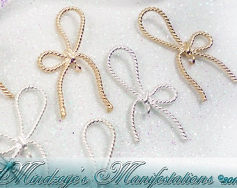 Delicate Silver & Gold Bow Charms 12x27mm