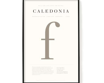 """Caledonia Poster, Screen Printed, Archival Quality, Wall Art, Poster, Designer Gift, Typography Print, 24"""" x 36"""""""