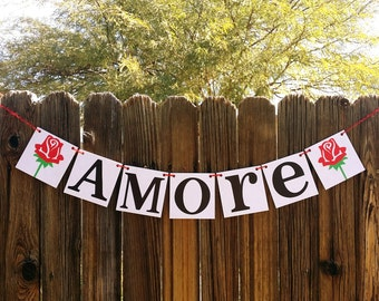Amore Banner / Valentine's Decoration Banner / Be Mine / Valentine Banner / Valentine's Decorations - / My Love Sign / Be Mine / Red Roses
